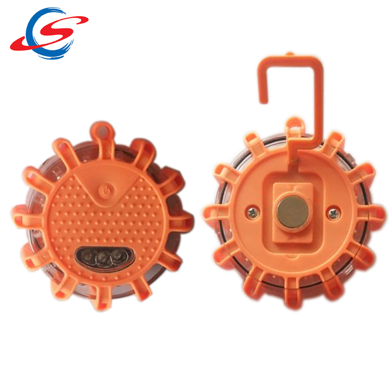 led flashing safety road flares emergency disc with magnetic and hook
